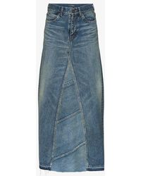 Saint Laurent High Waist Denim Maxi Skirt - Blue