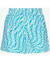 Fendi Ff Vertigo Silk Bermuda Shorts - Blue