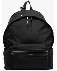 Saint Laurent - Logo Printed Large Cotton And Leather Backpack - Lyst