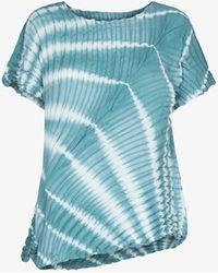 Issey Miyake Shibori Tie-dye Plissé Top - Blue