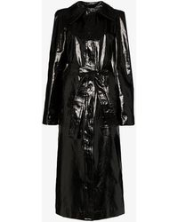 Lemaire Coated Linen Trench Coat - Black