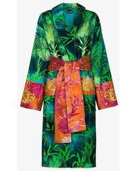 Versace Jungle Print Cotton Bath Robe - Green