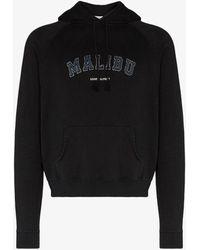 Saint Laurent Malibu Logo Cotton Hoodie - Black