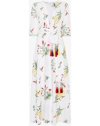We Are Leone Provence Floral Embroidered Maxi Robe - White