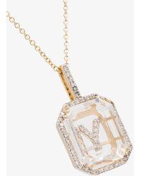 Mateo 14k Y Initial Diamond Necklace - - Diamond/14kt Gold/glass - Metallic