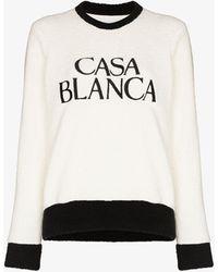CASABLANCA Logo Embroidered Terry Sweatshirt - White