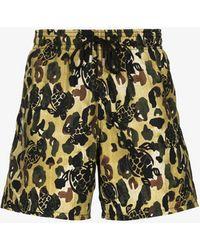 Palm Angels X Vilebrequin Camouflage Print Swim Shorts - Green