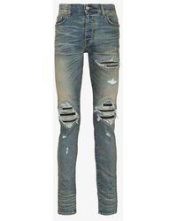 Amiri Mx1 Distressed-effect Slim-leg Jeans - Blue