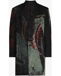 Yohji Yamamoto Printed Single-breasted Blazer - Black