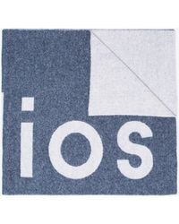 Acne Studios - Blue And White Toronto Logo Wool Scarf - Lyst