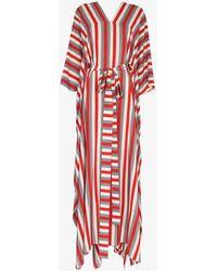 Oscar de la Renta Striped Silk Kaftan Dress - White