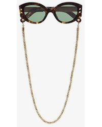 Lucy Folk - Brown Cartouche Green Tinted Sunglasses - Lyst