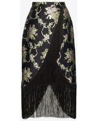 Taller Marmo Fringed Floral-jacquard Wrap Skirt - Black