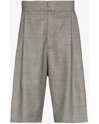Edward Crutchley Checked Wool Shorts - Black