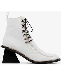 Marques'Almeida Square Toe Lace Up Boots - White