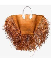 Jacquemus Brown Le Baci Frayed Straw Basket Bag