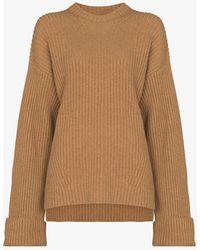Ganni Ribbed Knit Wool Jumper - Brown