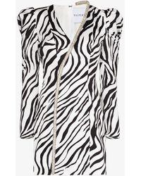 Halpern Crystal Trim Zebra Print Mini Dress - White