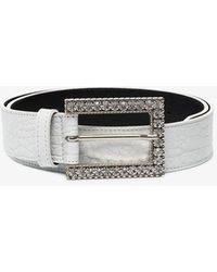 Alessandra Rich Crystal-embellished Buckle Belt - White