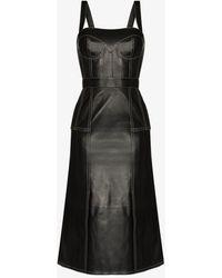 Alexander McQueen Square Neck Leather Midi Dress - Black
