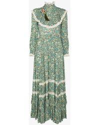 Gucci Liberty Floral Print Ruffle Maxi Dres - Green
