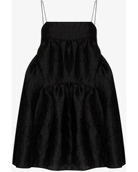 Cecile Bahnsen Elin Strap Cloqué Mini Dress - Black