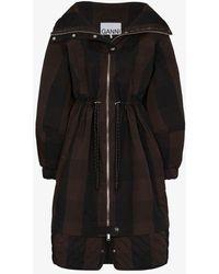 Ganni Checked Zip-up Parka Coat - Black