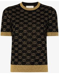 Gucci GG Jacquard Lamé Wool Sweater - Black