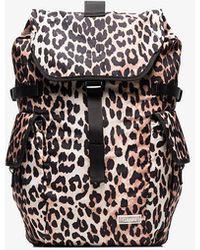 Ganni Leopard Print Backpack - Black