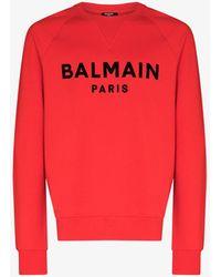 Balmain Flocked Logo Jumper - Red