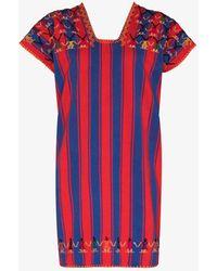 Pippa Holt No.295 Striped Mini Kaftan Dress - Red
