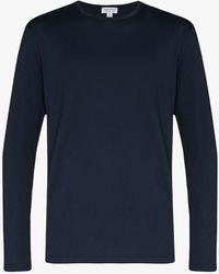 Sunspel Long Sleeve Cotton T-shirt - Blue