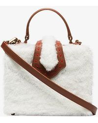 Mehry Mu - Brown And White Fey Mini Shearling And Leather Box Bag - Lyst