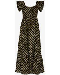 Anaak Cassi Ruffle Sleeve Midi Dress - Black