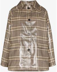 Kassl Checked Short Raincoat - Brown