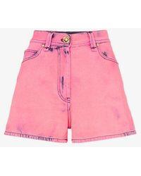 Versace High-waisted Acid-wash Denim Shorts - Pink