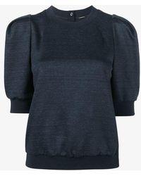 Adam Lippes Short Puff Sleeve Sweatshirt - Blue