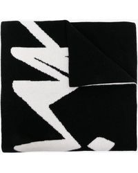 Off-White c/o Virgil Abloh Logo Intarsia Wool Scarf - Black