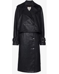 Tibi Convertible Faux Leather Trench Coat - Blue