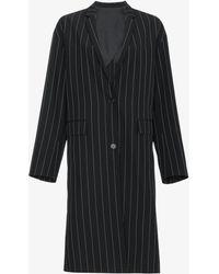 Juun.J Oversized Pinstripe Coat - Black