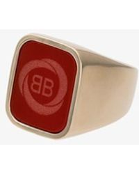 Balenciaga Red Gold Tone Square Logo Ring