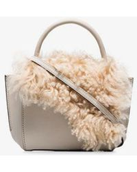 Atp Atelier - White Montalcino Shearling Embellished Leather Crossbody Bag - Lyst