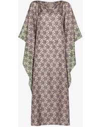 By Walid Printed Silk Kaftan Dress - Purple