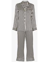 Olivia Von Halle Lila Striped Silk-satin Pajama Set - Black