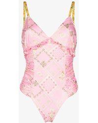 LoveShackFancy Delaine Floral Print Swimsuit - Pink