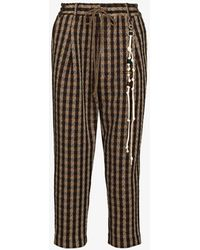 Song For The Mute Lounge Cropped Houndstooth Trousers - Brown