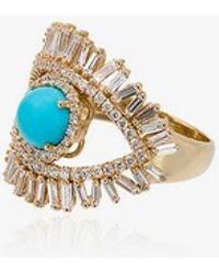 Suzanne Kalan - 18kt Gold Evil Eye Turquoise Fireworks Ring - Lyst