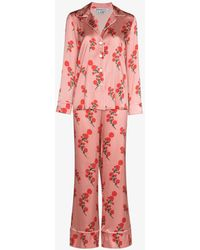 BERNADETTE Floral Silk Pyjamas - Pink