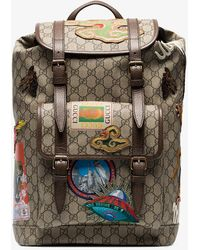 Gucci - Beige And Brown Gg Multi-patch Backpack - Lyst 07e885784babb
