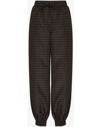 Fendi Interlacing Ff Logo Track Trousers - Brown
